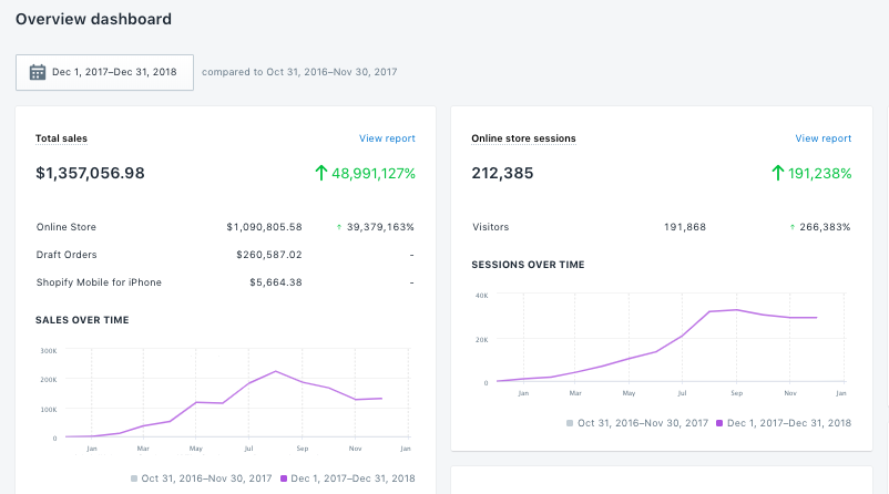 shopify store with over 1.3M in revenue after 1 year