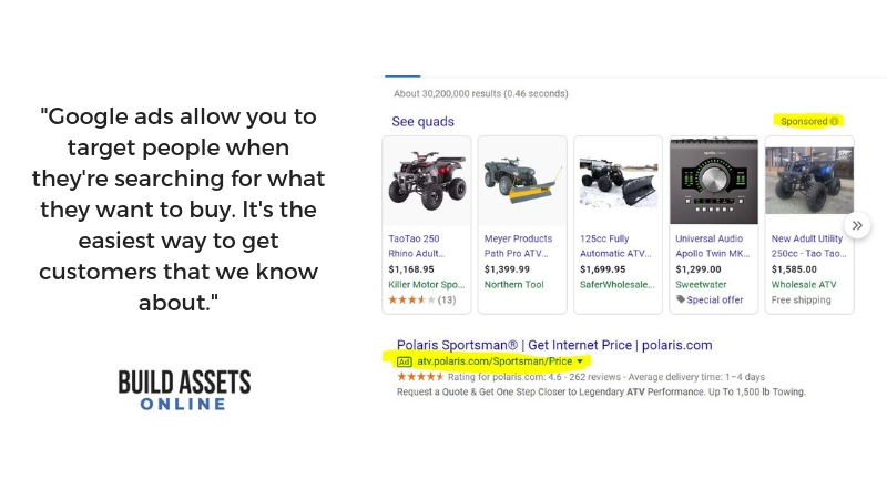 example of using google ads to dropship