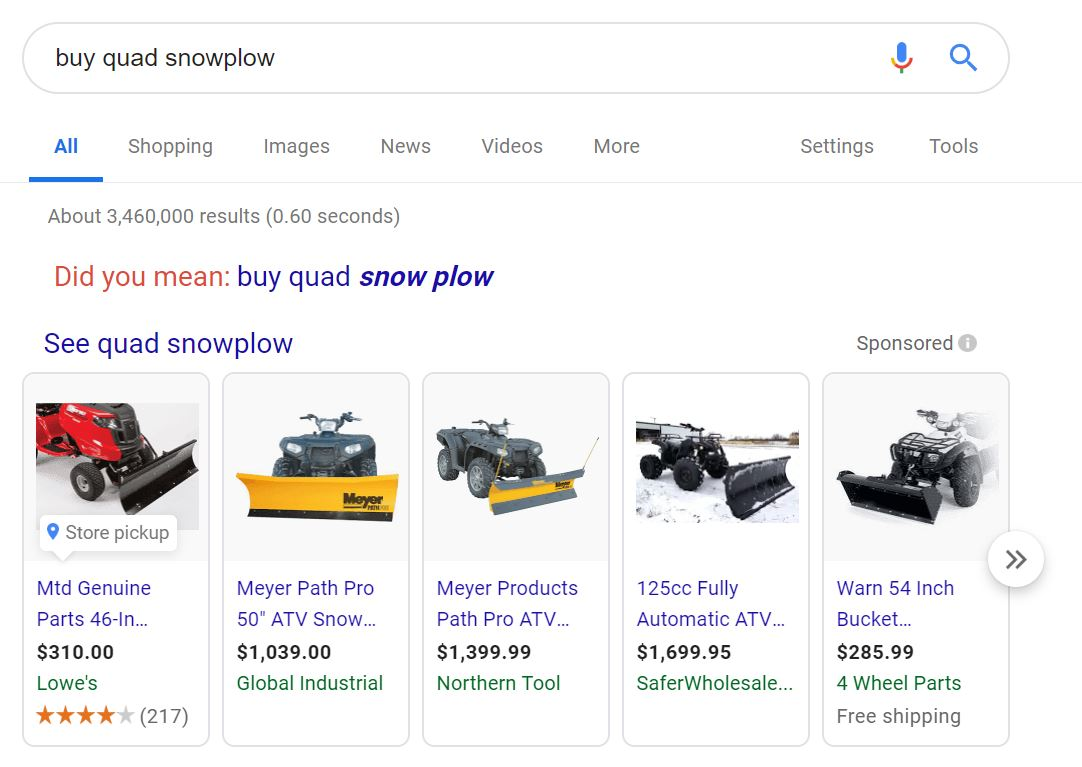 dropshipping example niche quad snowplow high ticket from google search