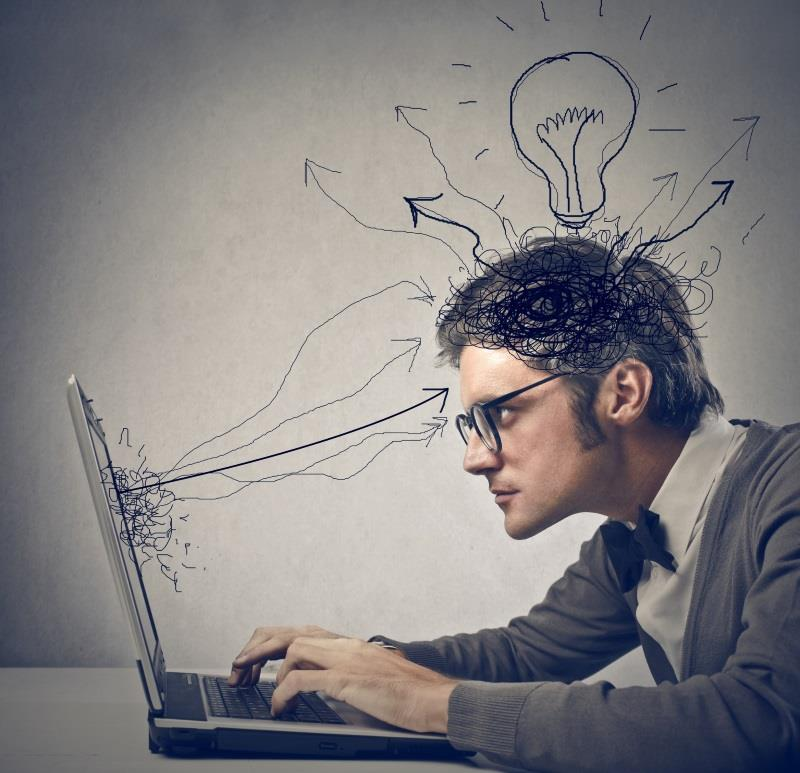 man getting distracted by new ideas