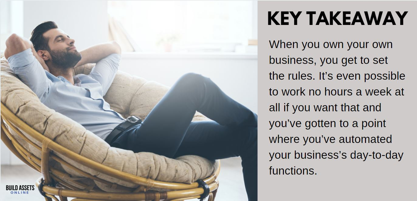 High Paying Job vs Owning Online Business Comparison Point: When you own your own business, you get to set the rules. It's even possible to work no hours a week at all if you want that and you've gotten to a point where you've automated your business's day-to-day functions.